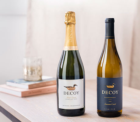 Bottle of decoy sparkling and limited chardonnay