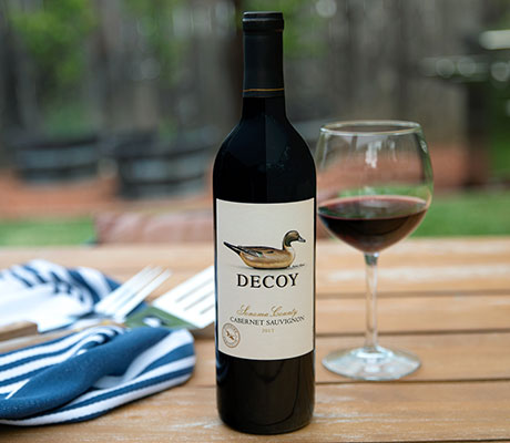 decoy cabernet sauvignon on a table outdoors