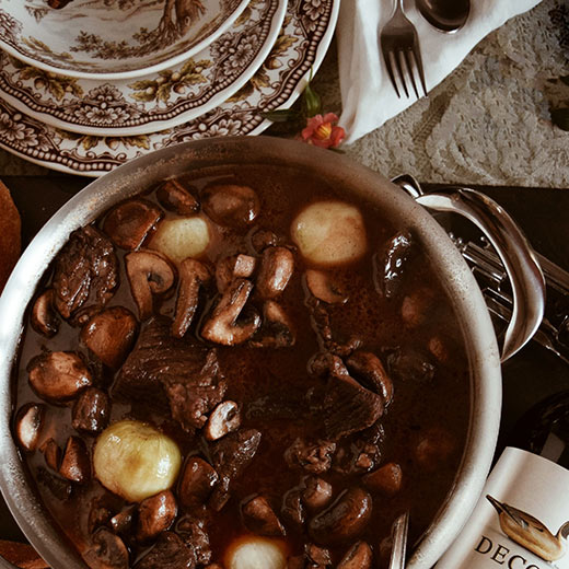 Beef Bourguignon Stew served in a bowl