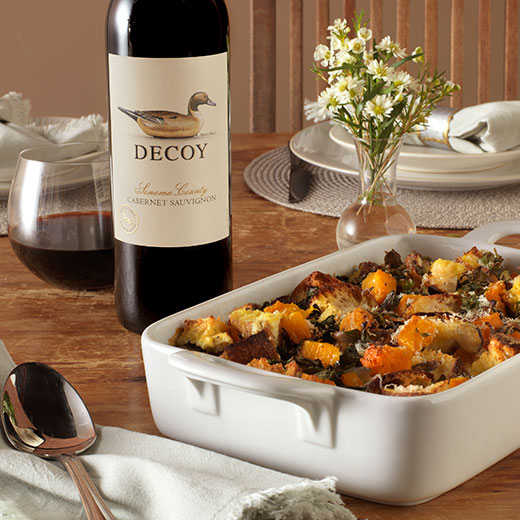 Decoy wine paired with Butternut Squash and Kale Strata