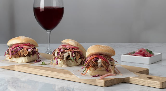 Pulled Pork Sliders with glass of wine