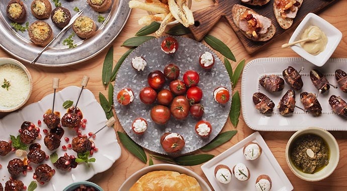Holiday appetizers on a table