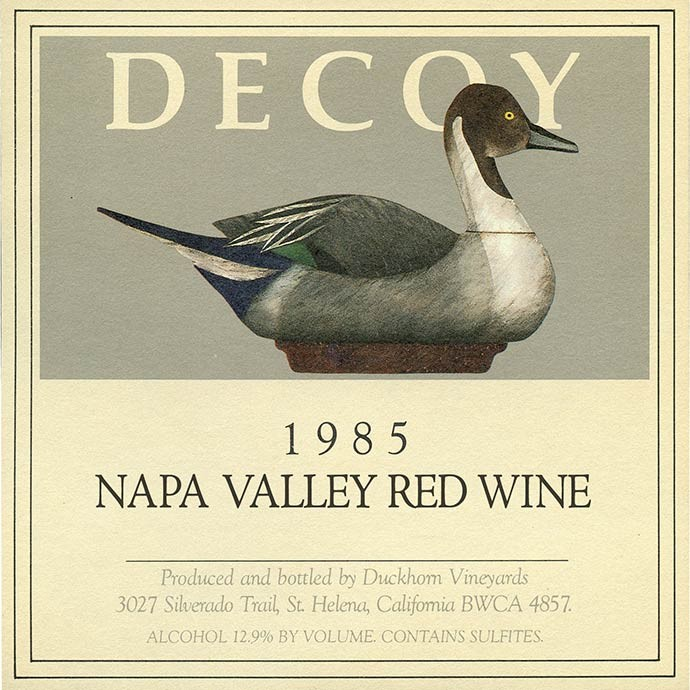 The label for the original vintage of Decoy created in 1985