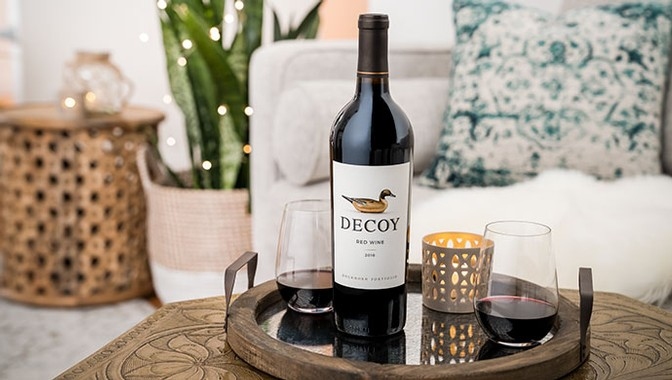 Decoy red wine in the living room