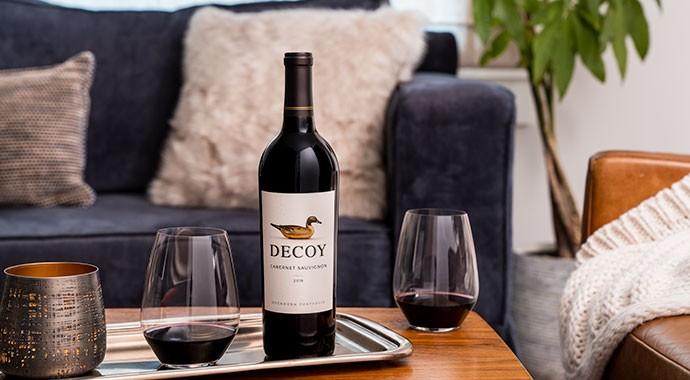 Decoy Cabernet Sauvignon wine in the living room