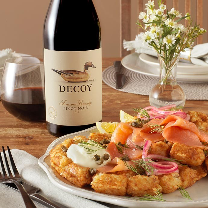 Decoy Pinot Noir with tater tot waffles