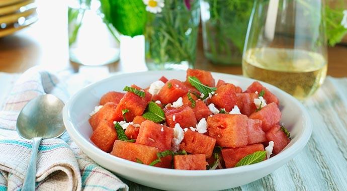 watermelon and feta salad in dish